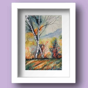 Limited Edition Watercolour Print of an Autumn Windy Day by Galway Artist Pat Flannery.jpeg