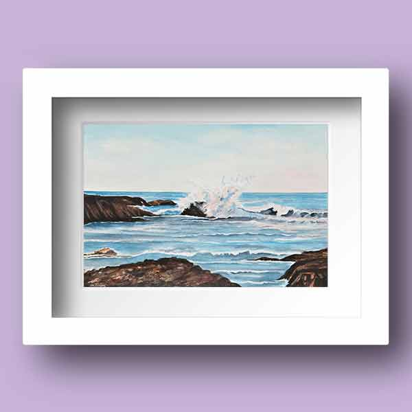 Watercolour Limited Edition Print of waves breaking on the rocks on Doolin Bay, Co Clare in Ireland