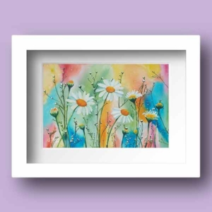 Limited Edition Watercolour print of daisies dancing in a field with a very colourful background