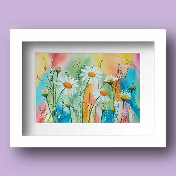 Limited Edition Watercolour print of daisies dancing in a field with a very colourful background by Pat Flannery.jpeg