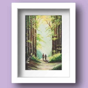 Limited Edition Print of a couple taking a walk through a wondlands