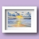Limited Edition Watercolour Print of the a beautiful sunrise rise over galway bay in Ireland