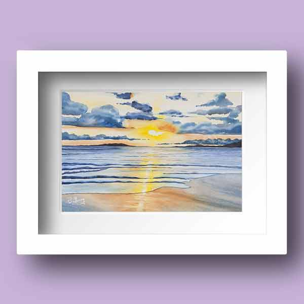 Limited Edition Watercolour Print of the a beautiful sunrise rise over galway bay in Ireland by Galway Artist Pat Flannery.jpeg