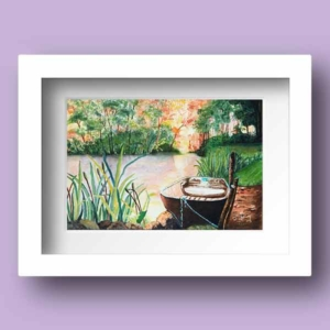 Watercolour Print of a small boated moored on a lake in late Autumn by Galway Artist Pat Flannery.jpeg
