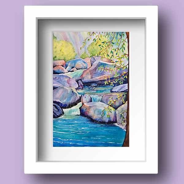 Limited Edition Print of a babbling brook in tones or mainly blue and turquoise