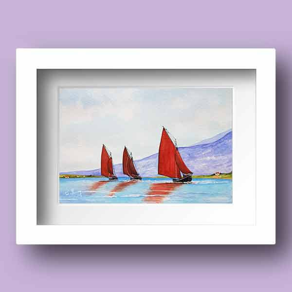 Watercolour Print of Galway Hooker Boats, racing home in Connemara, Co Galway in Ireland