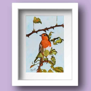 Watercolour Print of an Irish Robin Redbreast perched on a Branch