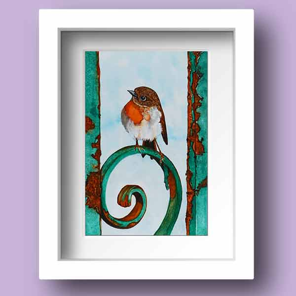 Limited Edition Print of an Irish Robin Red Breast sitting on a rusty gate