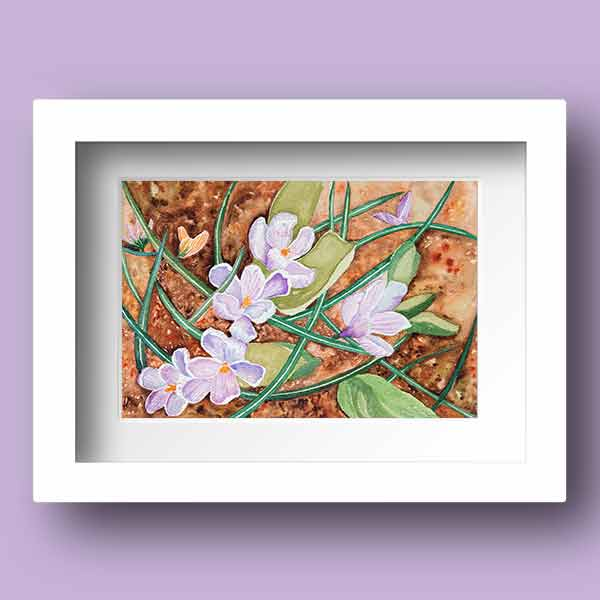 Watercolour Print of purple spring bulbs breaking through the ground