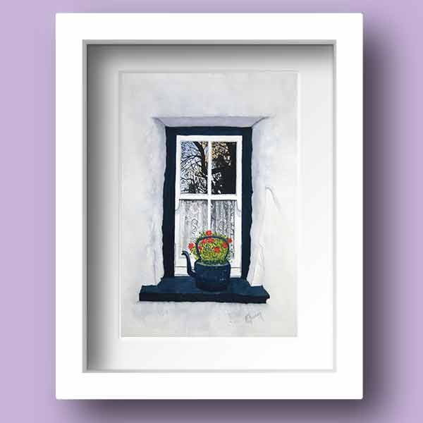 Limited Edition Print of Reflections in the Window of an Old Irish Thatched Cottage by Galway Artist Pat Flannery.jpeg