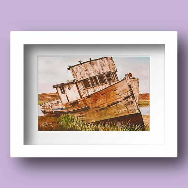 Limited Edtion Print of a deserted fishing boat on dry land in Ireland
