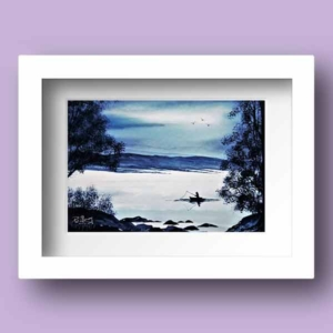 Watercolour Print, Monotone in blues of a man fishing late in the evening in county Mayo Ireland
