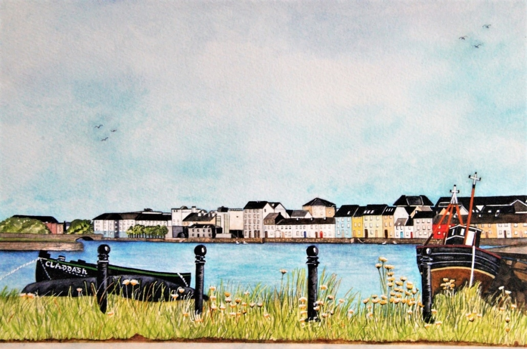 An Original Painting of the Claddage View in Watercolour by Galway Artist Pat Flannery.jpeg
