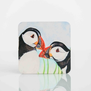 Coaster Set with Painting of Puffins Homeware Gifts.jpeg