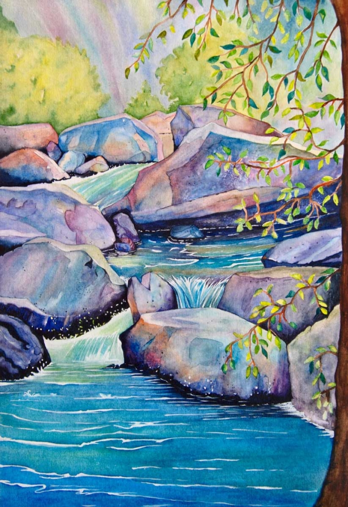 An Original Watercolour Painting of a Mystic Stream in Blue Tones by Galway Artist Pat Flannery.jpeg