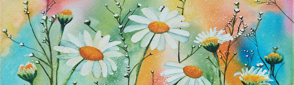 An Original Painting of Dancing Wild Irish Daisies in the Summer Time by Galway Artist Pat Flannery.jpeg