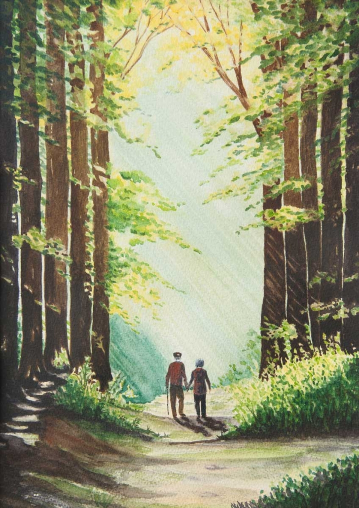 An Original Watercolour Painting of an Old Couple Walking through the Galway Woodlands by Pat Flannery.jpeg