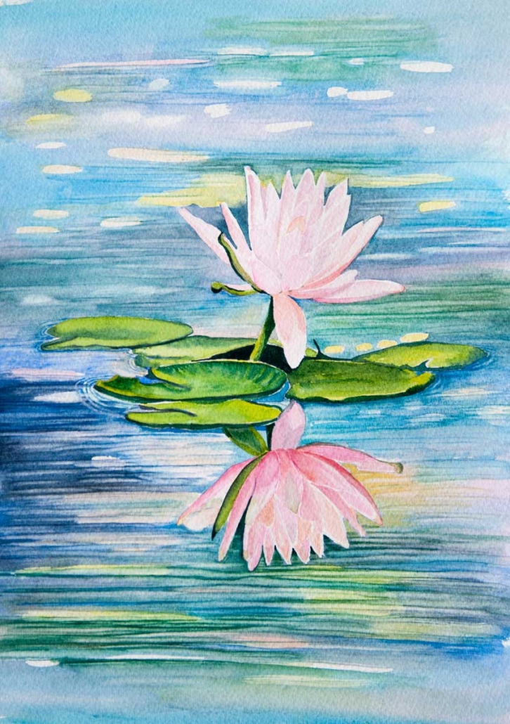 An Original Watercolour Painting of a Beautiful Lily with its Refection on Water by Pat Flannery.jpeg