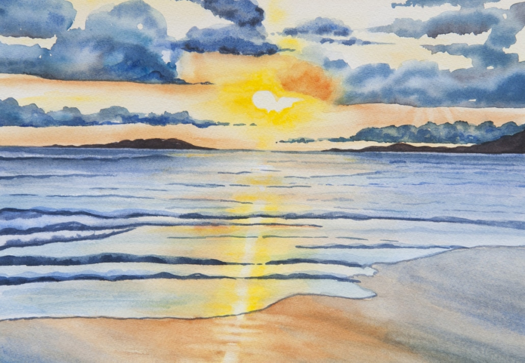 An Original Painting of the Glorious Sunrise over Galway Bay in Watercolour by Galway Artist Pat Flannery.jpeg