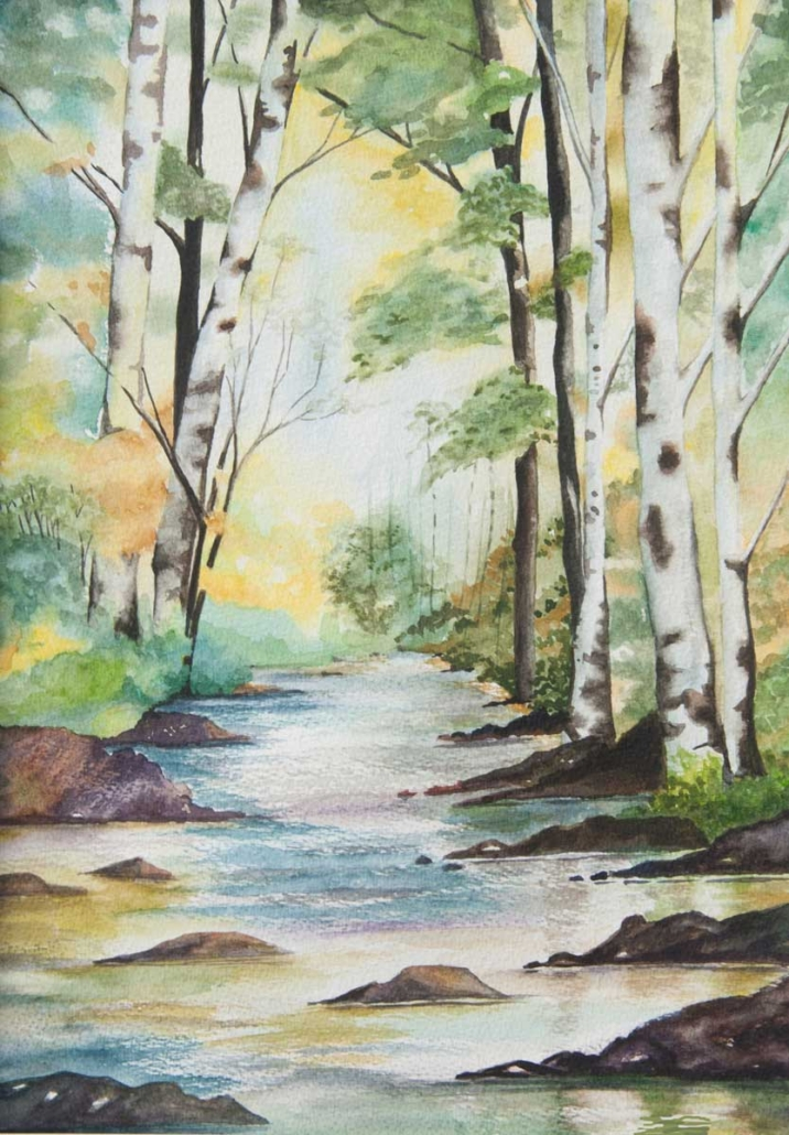 An Original Painting of a Stream amidst the Woodlands in Watercolour by Galway Artist Pat Flanery.jpeg