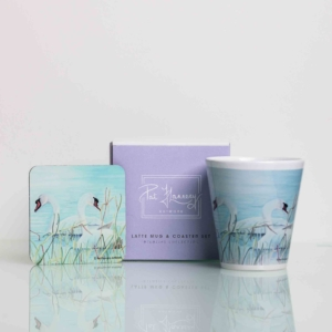 Mug and Coaster Set with Painting of a Pair of Swans Homeware Gifts.jpeg