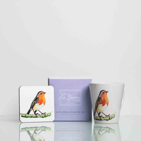 Mug and Coaster Set with Painting of Robin Homeware Gifts.jpeg