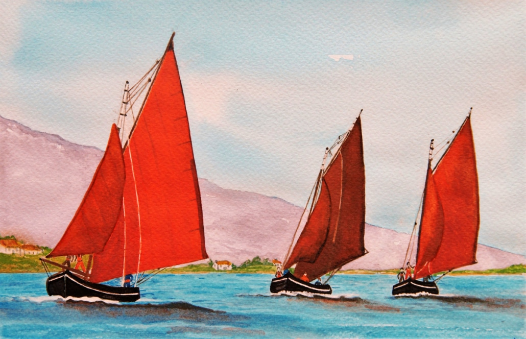 An Original Painting of Galway Hooker Boats Racing Home along the Wild Atlantic Way by Galway Painter Pat Flannery.jpeg