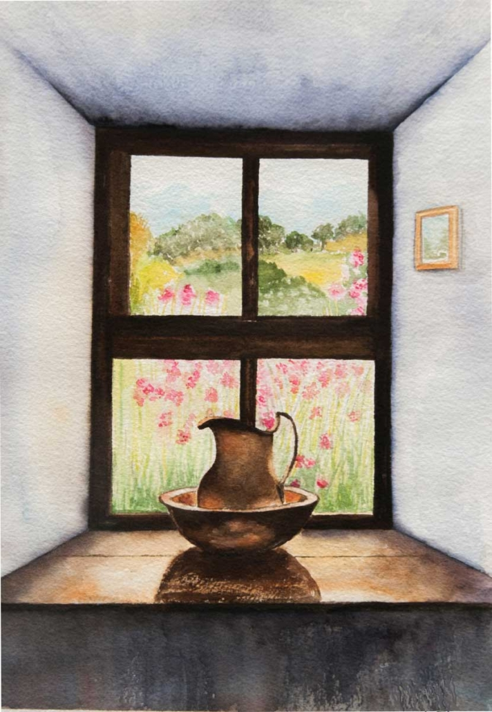 An Original Watercolour Painting of a Beautiful View from a Room by Galway Artist Pat Flannery.jpeg