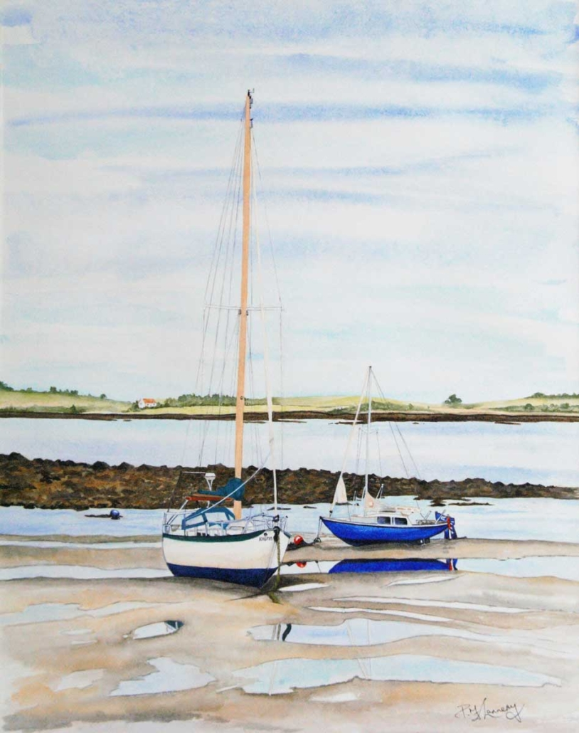 An Original Watercolour Painting of Sailboats Awaiting the Tide by Galway Artist Pat Flannery.jpeg