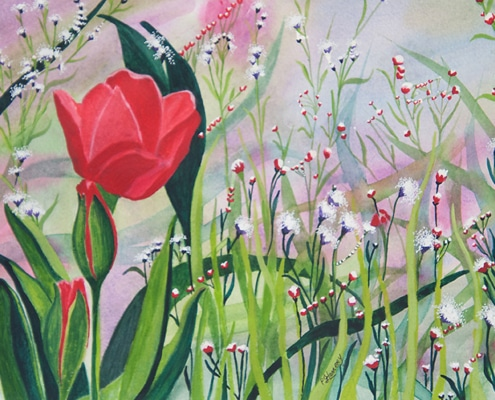 An Original Watercolour Painting of a Beautiful Tulip in Meadow by Galway Artist Pat Flannery.jpeg
