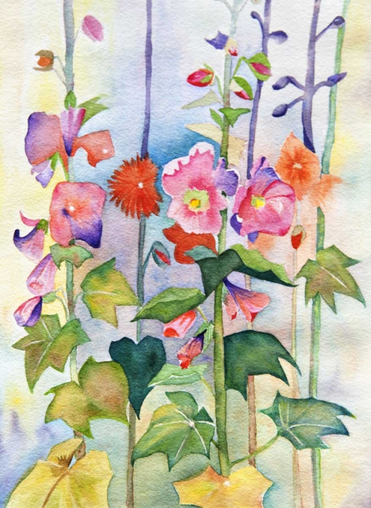 An Original Painting of a Bunch of Colourful Wild Flowers in Watercolour by Galway Artist Pat Flannery.jpeg