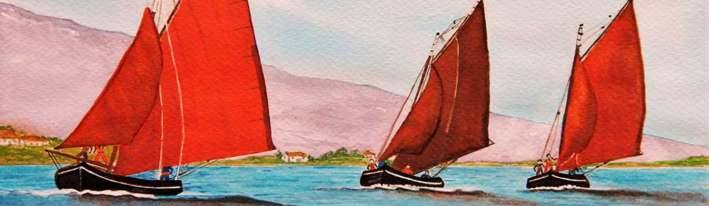 An Original Painting of Galway Hooker Boats Racing Home along the Wild Atlantic Way by Galway Artist Pat Flannery.jpeg