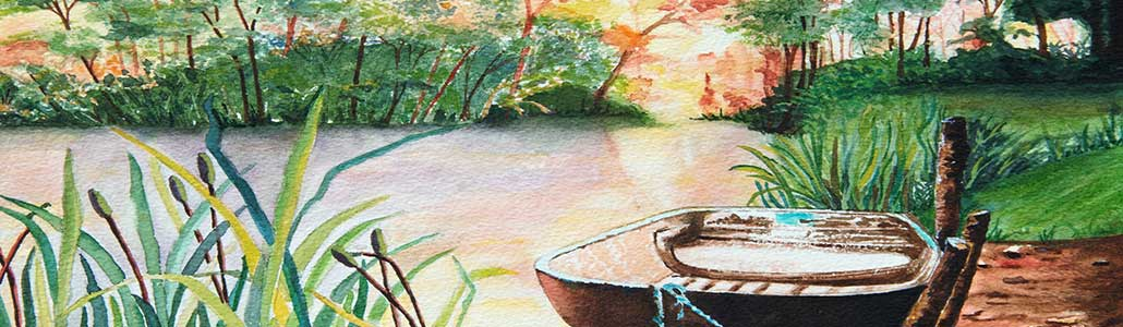 Original Watercolour Painting of a small boated moored on a lake in late Autumn by Galway Artist Pat Flannery.jpeg