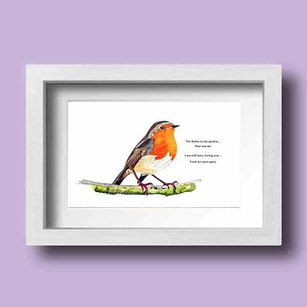 A stunning little Irish native bird, a Robin Red breast with a verse framed by Galway Artist Pat Flanery.jpeg