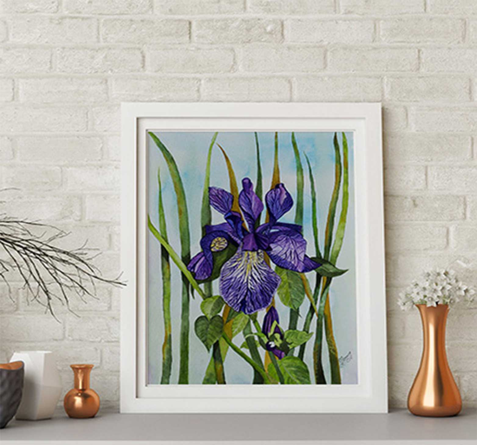 An Original Painting of Iris Flower in Watercolour by Galway Artist Pat Flanery.jpeg