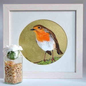A Beautiful Framed Painting of little Irish native bird Robin Red breast by Galway Artist Pat Flanery.jpeg